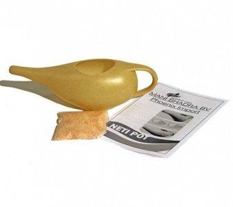 Neti pot plastic met 15 gram zout en handleiding