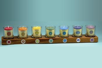 Kaarshouder voor 7 kaarsen rubberwood zwart en glaasjes